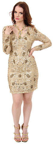 V-Neck Full Sleeves Short Sequin Beaded Party Party Dress. 10148.