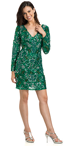 V-Neck Full Sleeves Short Sequin Beaded Cocktail Cocktail Dress. 10148.