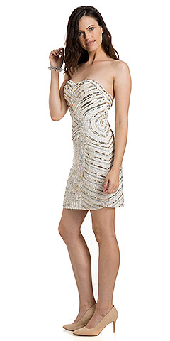 Strapless Short Geometric Sequins Pattern Plus Size Prom Dress. 10162.