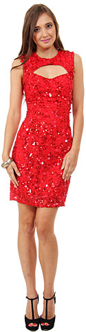 Keyhole Neck & Back Short Sequined Party Prom Dress. 10163.