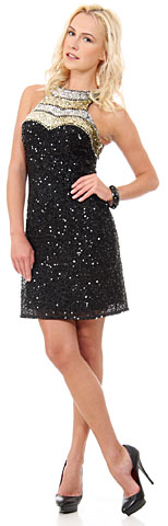Halter Neck Exotic Short Sequined Prom Dress. 10172.