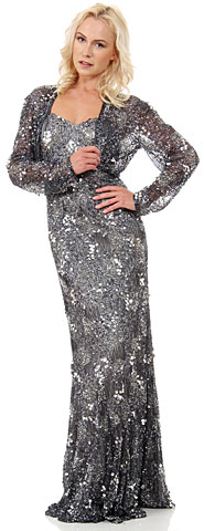 Exquisitely Beaded Long Formal MOB Dress with Jacket. 10182.