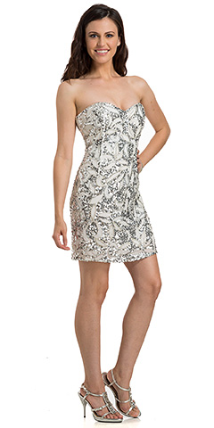 Floral Beaded Pattern Short Party Homecoming Dress. 10188.