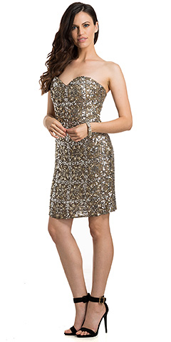 Strapless Fully Beaded Short Prom Homecoming Dress. 10196.
