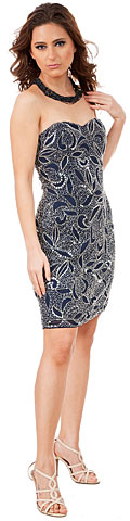 Strapless Leaves Pattern Short Beaded Homecoming Party Dress. 10199.