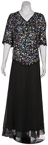 Plus size V-neck Sequined Formal Dress. 1020.