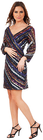 V-neck Diagonal Sequins Pattern Prom Dress. 10201.