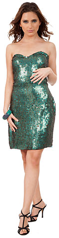 Strapless Sequin Beaded Short Plus Size Prom Dress. 10209.
