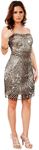 Strapless Short Sequined Homecoming Party Prom Dress
