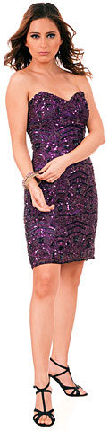 Strapless Sequins Embellished Short Prom Homecoming Dress