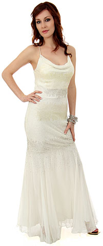 Fitted and Flared Full Length Beaded Formal Dress