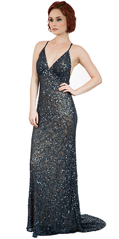 Spaghetti Straps V-Neck Sequins Long Pageant Dress. 10233.