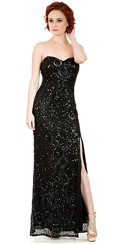 Strapless Sweetheart Sequins Long Plus Size Prom Dress. 10234.