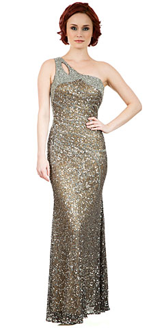 One Shoulder Sparkling Beads & Sequins Long Pageant Dress. 10235.