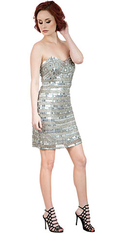 Strapless Mirror Sequins & Beads Short Prom Plus Size Prom Dress. 10236.