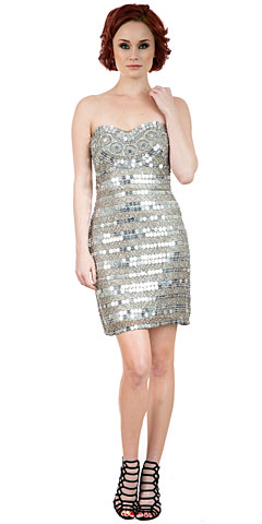 Strapless Mirror Sequins & Beads Short Prom Dress. 10236.