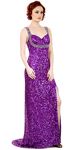 Broad Straps Front Slit Sequined Long Formal Prom Dress. 10237.