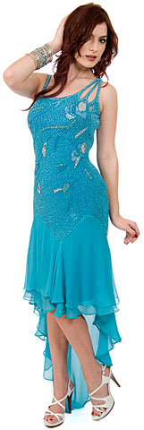 Artistic Mesh Back Beaded Party Dress with Asymmetric skirt. 1024.