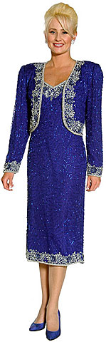 Tea Length Sequined Formal Dress with Matching Jacket