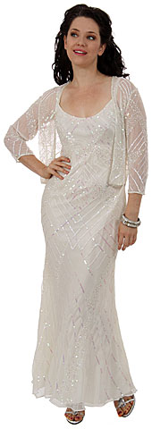 Artistic Sequined Pattern Wedding Dress with Jacket. 1040-w.