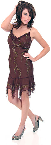 Spaghetti Strapped Party Dress With Asymmetrical Skirt. 1047.