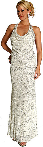 Silver Sparkled Full Length Formal Dress. 1056.
