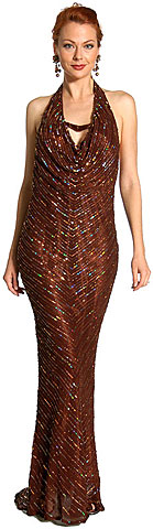 Halter Neck Low Back Sequined Formal Dress. 1060.