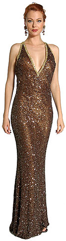 V-Top Fully Beaded Formal Dress. 1061.