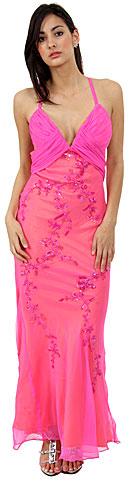 Floral Beaded Slim Cut Formal Dress. 1062.