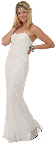Full length Beaded Evening Dress with Shirred Bust. 1065.