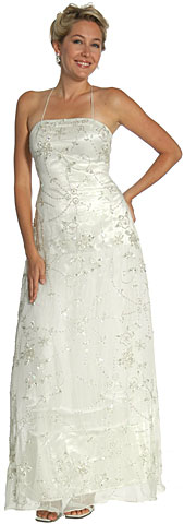 Spaghetti Wedding Dress in Ivory/Silver. 1067.
