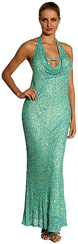 Halter Neck Low Back Sequined Pageant Gown. 1070.