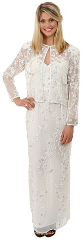 Floral Spaghetti Beaded Evening Dress with Jacket. 1071.