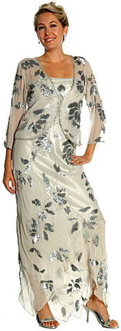 Mettalic Leafy Formal Mother of the Bride Dress with Jacket. 1077.