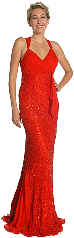 Wrap Style Shirred Bodice Plus Size Prom Dress with Flared Bottom. 1083.