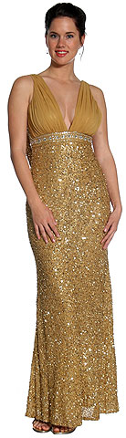 Studded Empress Formal Prom Dress with Shirred Bust. 1091.