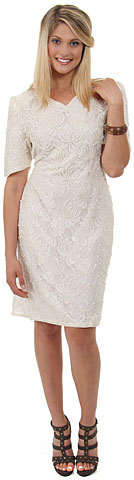 V-Neck Half Sleeves Beaded Cocktail Cocktail Dress. 11008.