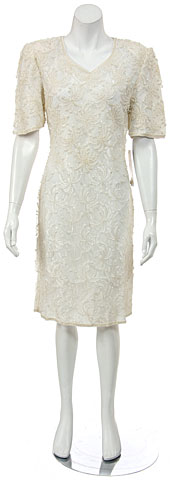 Short Half Sleeves Lace Cocktail Dress with Pearls. 11011.