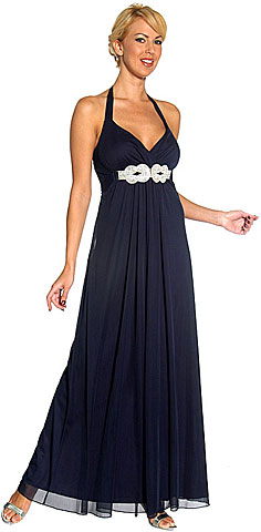 Halter Neck Rhinestones Belt Long Formal Evening Dress. 11048.
