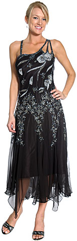 Asymmetric Floral Beaded Formal Dress. 1109.