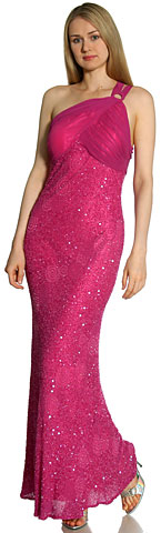 One Shoulder Shirred Bodice Sequined Formal Dress. 1109x.