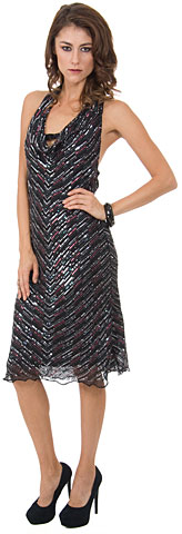 Halter Neck Knee Length Sequined Cocktail Dress. 1110.
