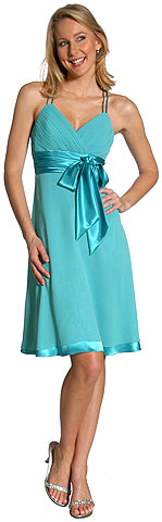 Spaghetti Strap Shirred Satin Bow Bridesmaid Dress. 11125.