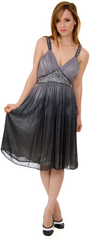 V-Neck Two Tone Beaded Knee Length Plus Size Prom Plus Size Prom Dress. 1117.
