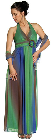 Multi Colored Halter Neck Formal Evening Dress . 11186.