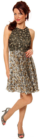 Sleeveless Beaded Bust Short Cocktail Dress with Print Skirt. 1119s.