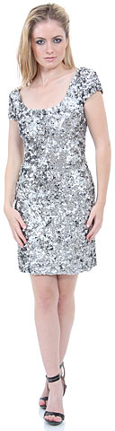 Fully Sequin Beaded Short Prom Dress. 1120.