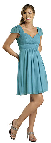 Modest Half Sleeves Pleated Short Bridesmaid Dress. 11210.