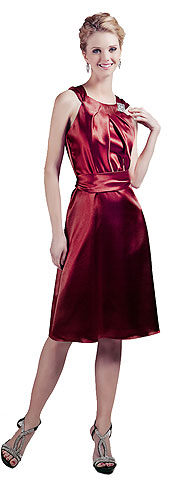 Short High Neckline Satin Bridesmaid Dress. 11223.