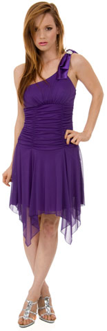 Ruched Asymmetric Hem Short Party Dress. 11227.